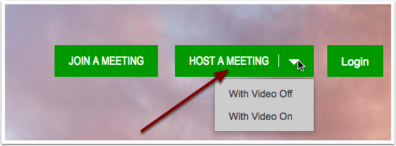 HSU Zoom homepage selecting the drop down Host a Meeting