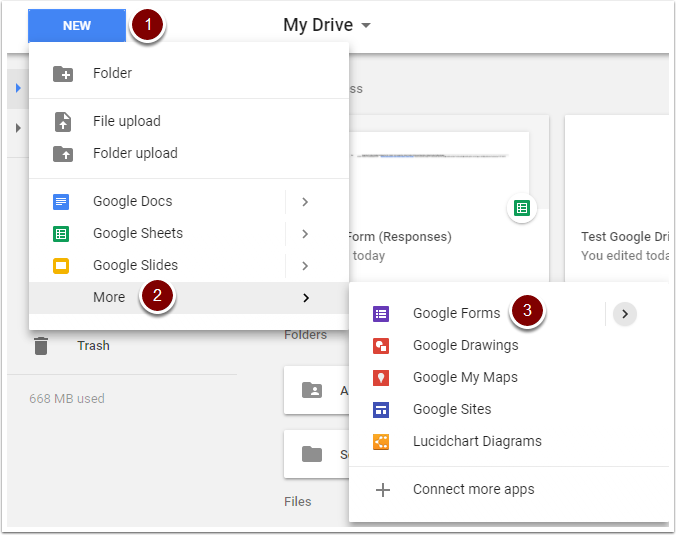 Google Drive : New -> More -> Form
