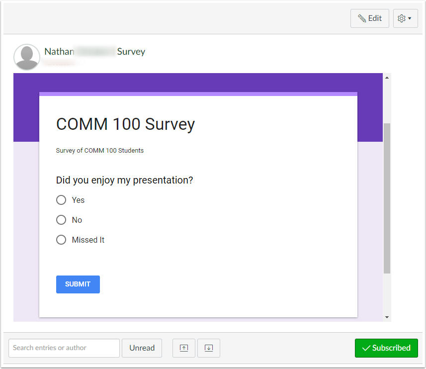 Discussion post with embedded Google Form