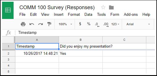 Google Response Sheet