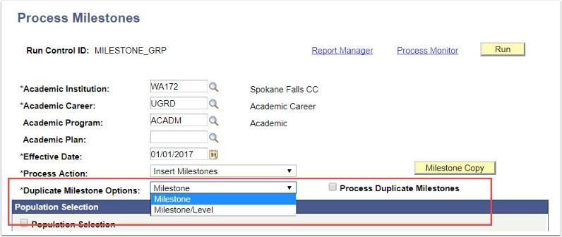 Process Milestones Duplicate Milestone Options