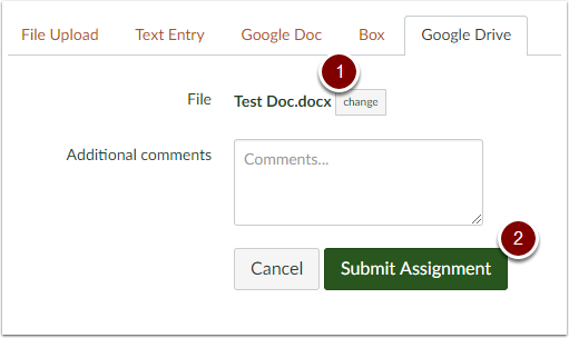 Canvas assignment Google Drive box with Google Doc File
