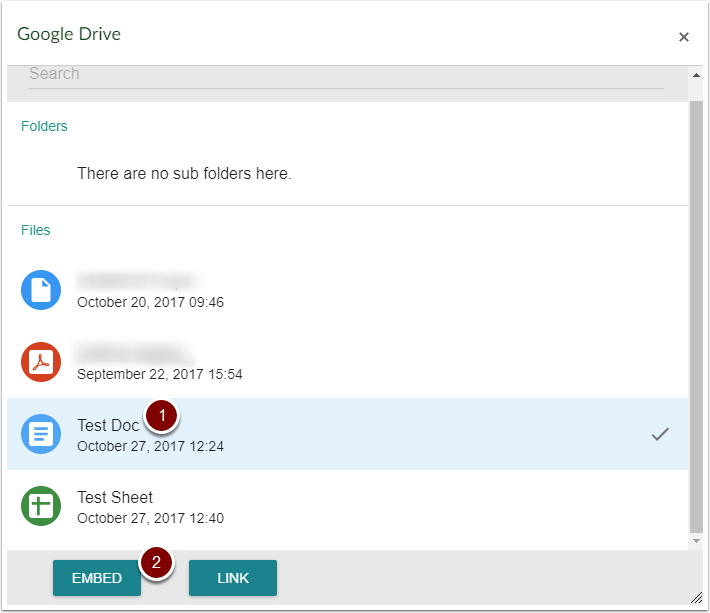 Google Drive files list with Embed and Link buttons