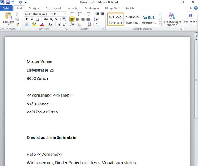 Serienbrief mit Platzhaltern im Word erstellen