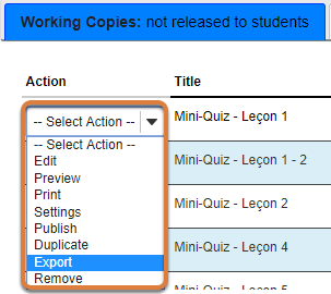 Tests & Quizzes export option
