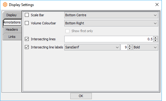 Display the scale bar and volume colourbar