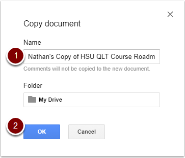 Google Doc - copy document window