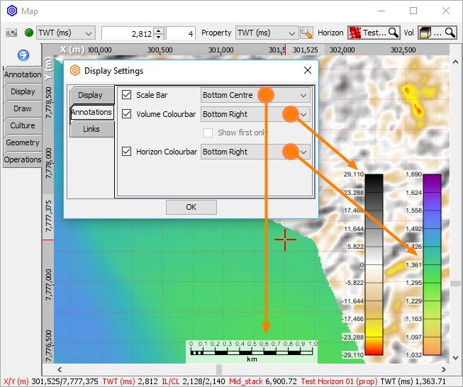 Display scalebar and volume colourbar