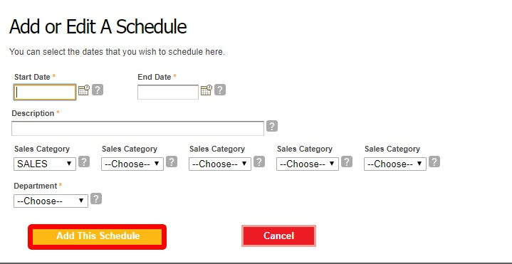 Choose the dates for the work schedule.