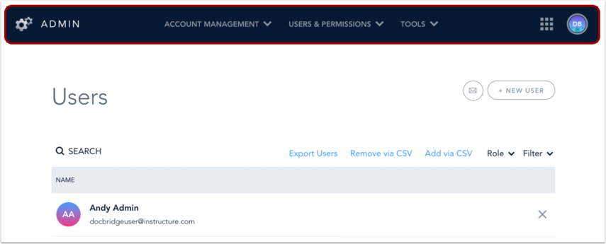 View Admin Navigation Option