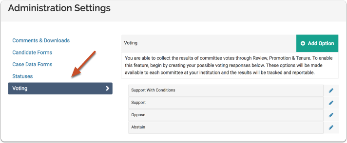 "Select the ""Voting"" tab on the Administration Settings page"
