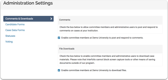 "Make sure you are viewing the ""Comments & Downloads"" tab on the Administration Settings page"