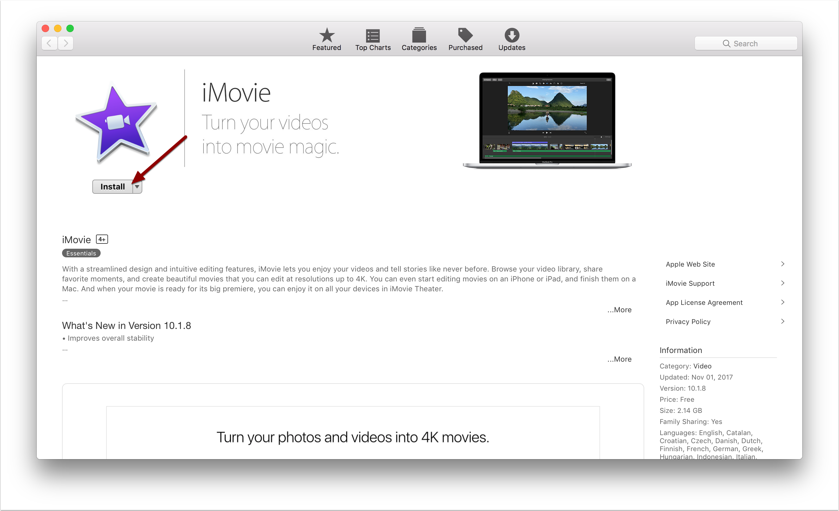 Install button in Apple App Store