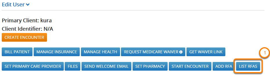 Go to the Patient RFA List Page From the Manage Users Page