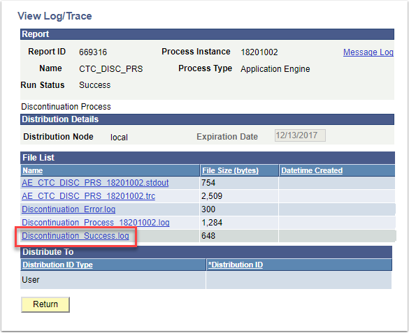 View Log/Trace Discontinuation Success.log highlighted
