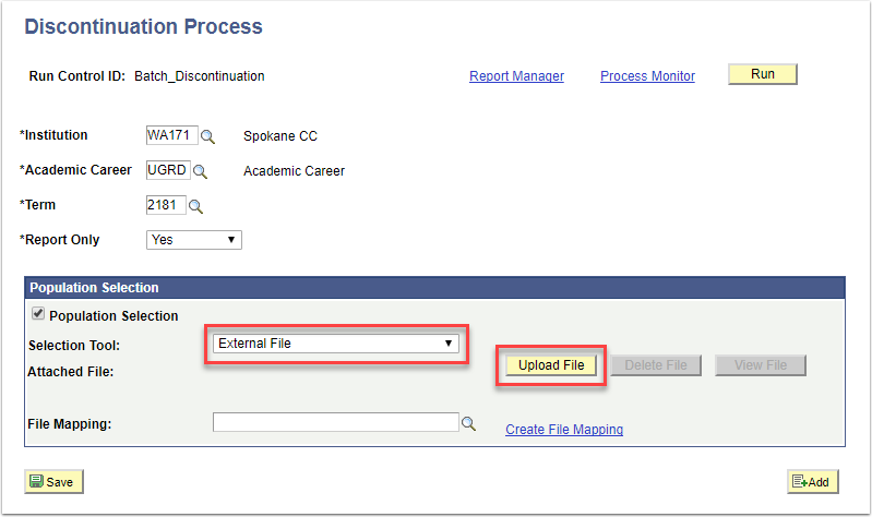 Discontinuation Process page - Population Selction section