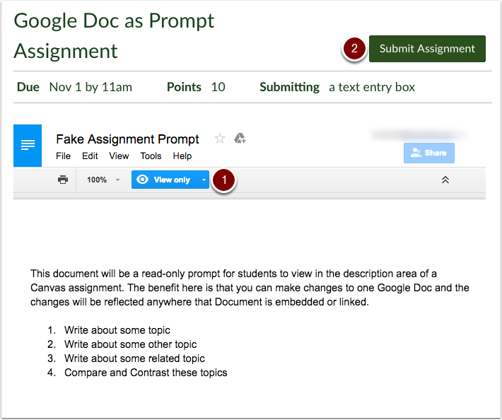 Google Doc assignment prompt from student view