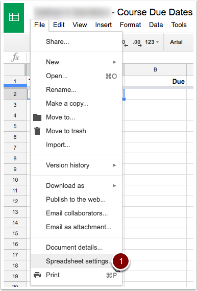 Spreadsheet settings button