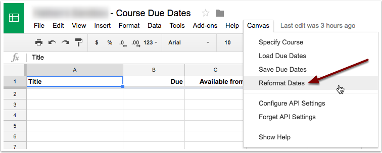 Select reformat dates from the canvas drop down menu.