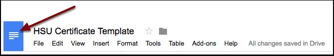 Google Docs home button.