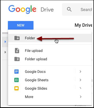 Select new folder.