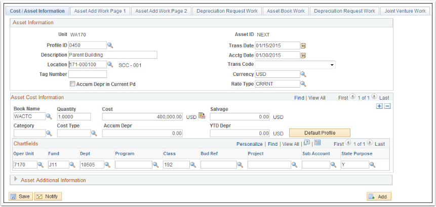 Cost Asset Information tab