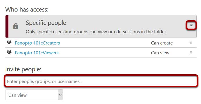 Image of share settings drop-down menu.