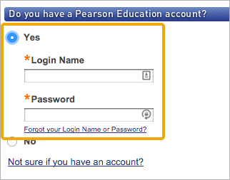 "Select ""Yes"" if you already have an existing Pearson account"