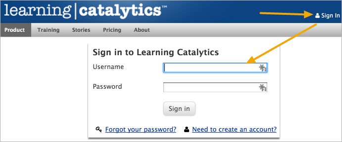 Sign in to Learning Catalytics to test your account