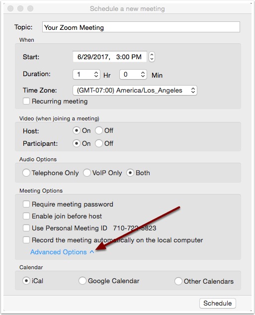 Schedule a new meeting window with Advanced Options highlighted
