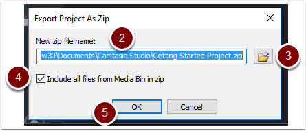 Set the file name and location, make sure include all files from Media Bin option is selected and then click okay.