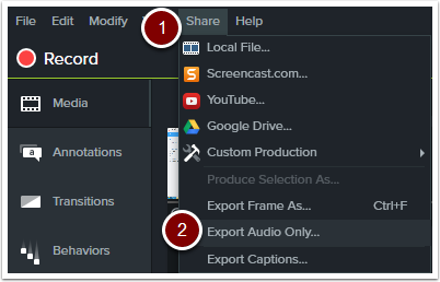 Select export audio only from the share drop down menu.