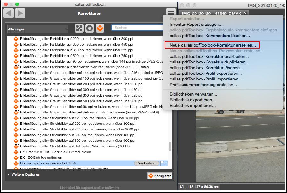Neue callas pdfToolbox-Korrektur erstellen...