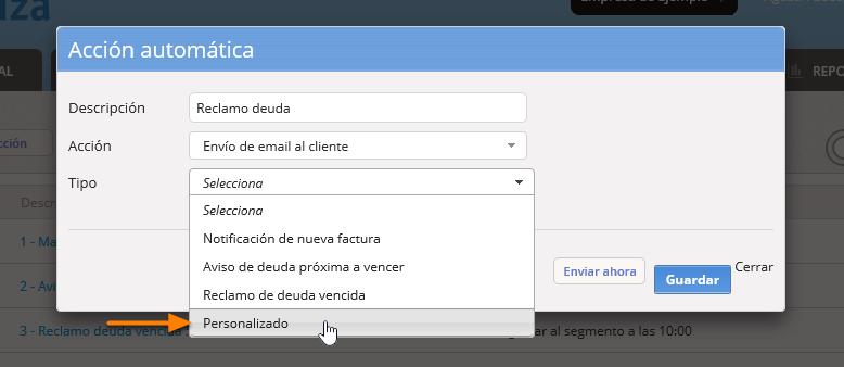 """Selecciona el Tipo de email. Puede ser alguna de las opciones prearmadas o bien selecciona """"Personalizado"""" si prefieres construir un mail con opciones avanzadas."""