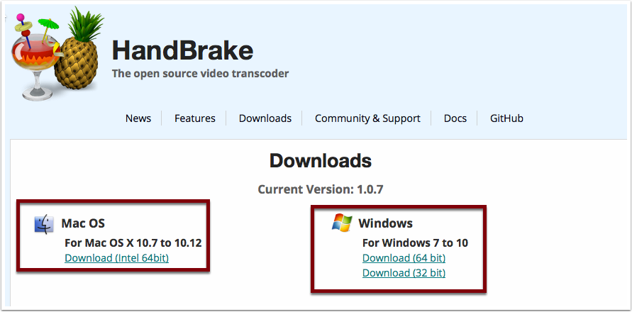 Snapshot of Handbreaks download page highligting the location of Mac and Windows download links.