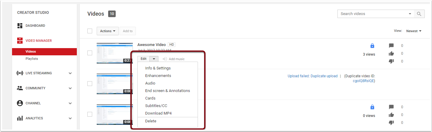 Video Editor page highlgting the options for editing individual videos.