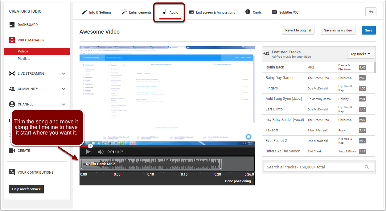 In the Audio tab, Trim the song and move it along the timeline to have it start where you want it.