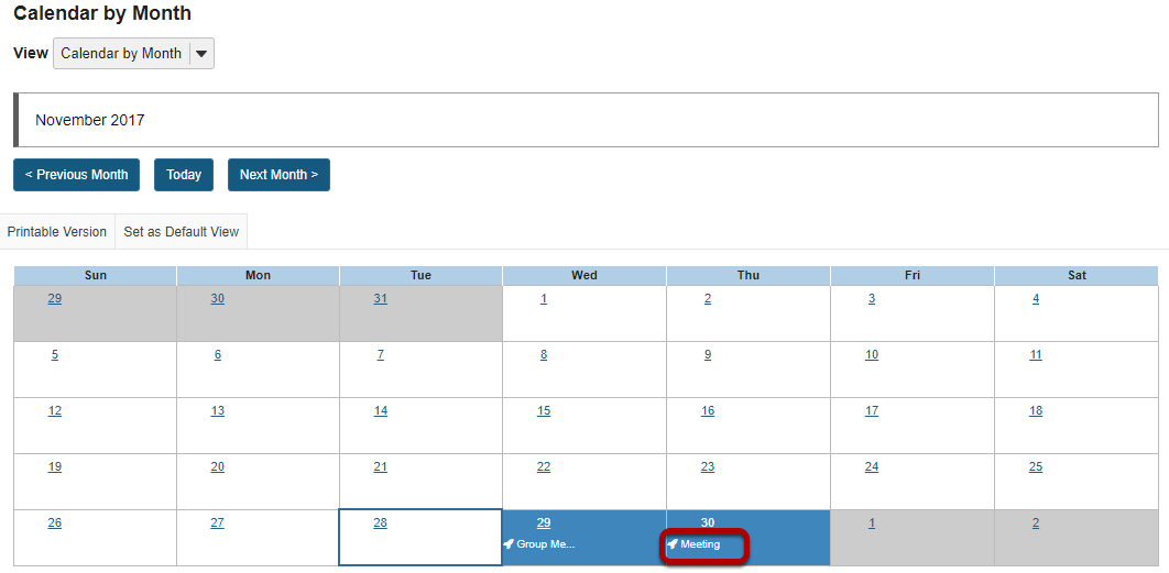 Click on the calendar entry that you want to edit.