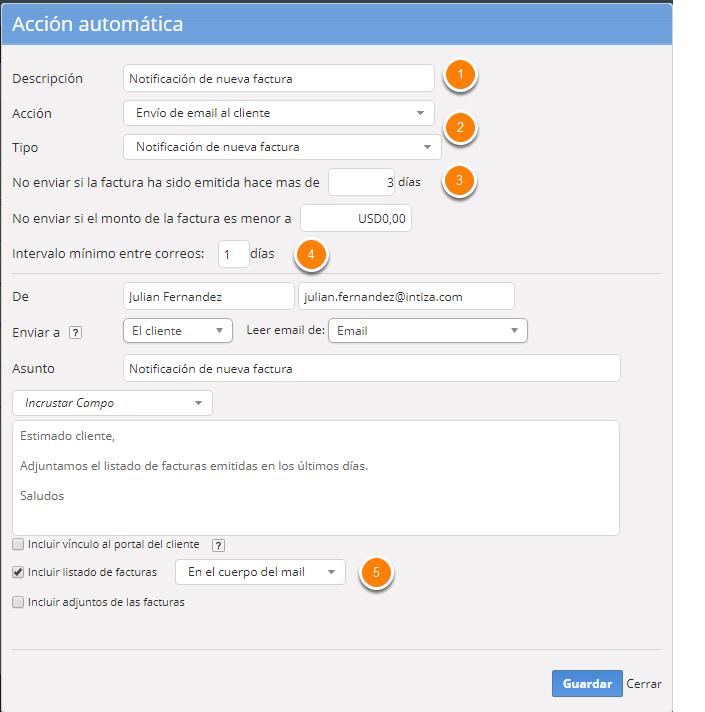 Se abrirá un formulario para que configures la notificación de nueva factura