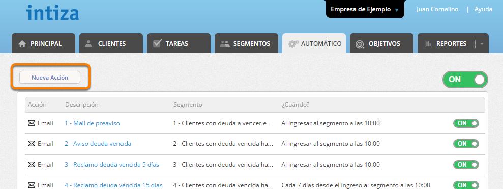 """Haz clic en """"Nueva Acción"""""""