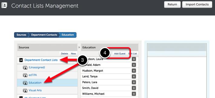 Step 1: Locate Department Guest List
