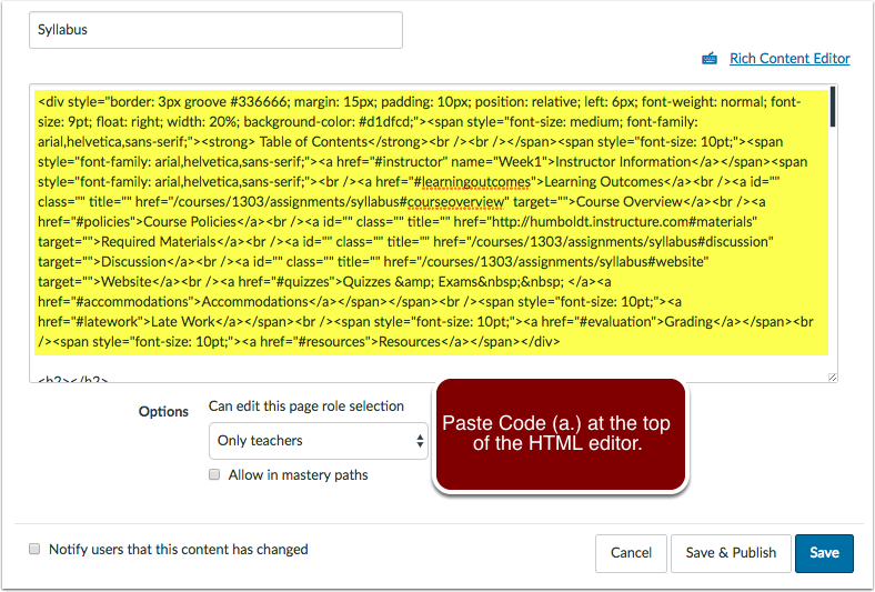 Canvas HTML page editor.