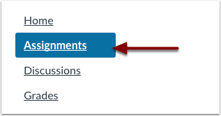 Canvas course navigation with assignments highlighted