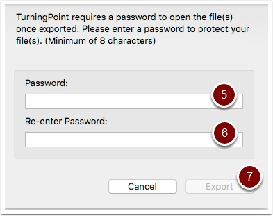 Turning Point session password window