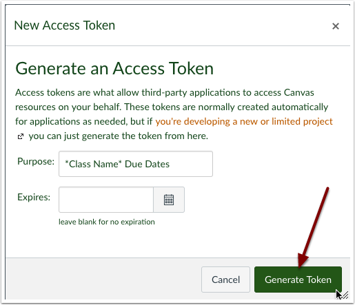 Select generate token.