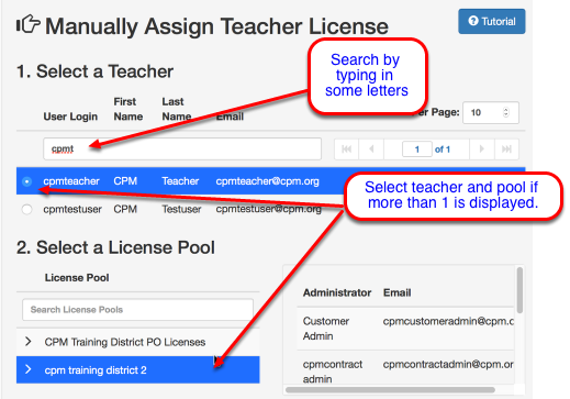 Select an existing teacher: