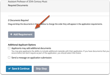 "To add or edit required documents click ""Add Requirement"""