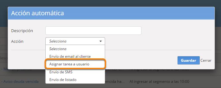 """Se abrirá el formulario para crear la nueva acción. Debes seleccionar la opción """"Asignar tarea a usuario""""."""