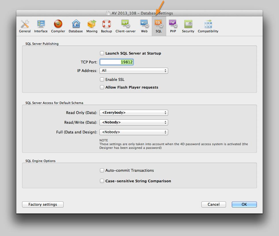 SQL Server Settings