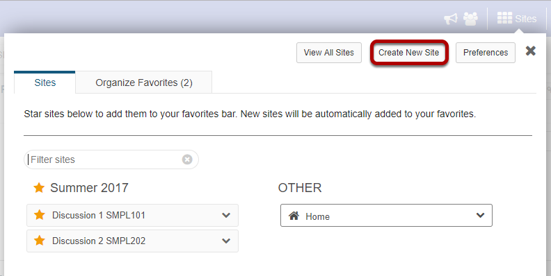 From your sites list, click Add New Site.
